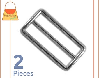 "2 Inch Slide for Straps / Webbing, Shiny Nickel Finish, 2 Pieces, Handbag Purse Bag Making Hardware Supplies, 2"", BKS-AA047"