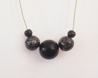 Necklace wood beads, black and pink glittery black