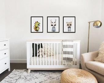 nursery print set, woodland animals, animal print, watercolour animal, kids prints, woodland creatures