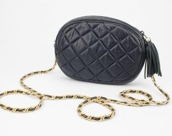 Real Leather Quilted Chain Strap Black Crossbody Bag Vintage L.J. Simone New York Black Tassel Genuine Leather Handbag 80s Vintage Purse