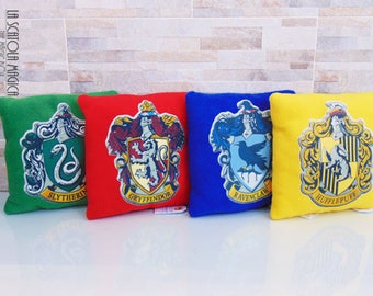 Harry Potter Hogwarts Houses - Ravenclaw, Gryffindor, Hufflepuff, Slytherin Plush Pillow - Handmade in Italy