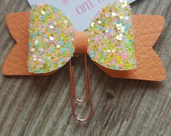 Small Yellow Glitter and Peach 3D Bow