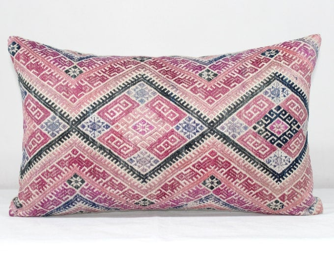 "20% OFF SALE 12""x20"" Pink Vintage Chinese Wedding Blanket Lumbar Pillow Cover/ Boho Ethnic Dowry Textile/ Handwoven Cotton Silk Cushion"