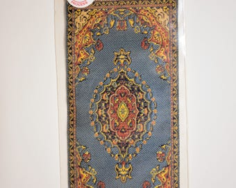 miniature antiqued Turkish woven fringed carpet 17th century style, fringed rug for your dollhouse