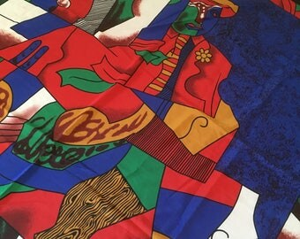 Vintage 100% Silk Handmade Picasso Scarf from Paris France M901