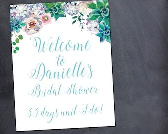 Wedding Welcome Sign, Succulents, Wedding, Bridal Shower, Printable, Download, Custom