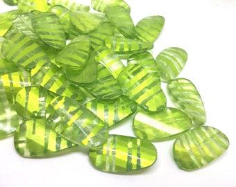 Lime Green Beads, Striped Beads, 30mm Beads, big acrylic beads, bracelet necklace earrings, jewelry making, acrylic bangle bead, key lime