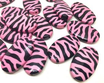 36mm light pink flat oval Beads, animal print beads, oval beads, pink and black necklace, animal print bracelet, animal print jewelry, pink