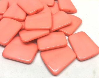 Coral solid Trapezoid 33mm big acrylic beads, pink chunky craft supplies, coral wire bangle, jewelry making, coral statement necklace, pink