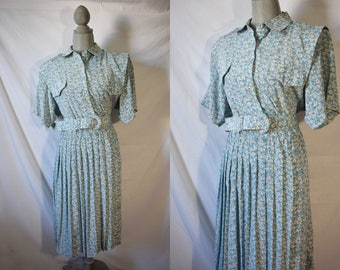 Vintage 80s Does 40s Floral Shirtwaist Day Dress Golden Girls Costume Dress Everyday Forties Style Dress Old Lady Grandma Casual Dress