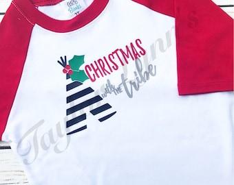Christmas with my Tribe, kids Christmas shirt, boys Christmas shirt, girls Christmas shirt