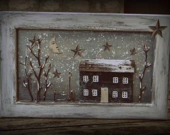 """Tableau décoratif en matériaux de récupération """"Une petite maison en hiver"""" / Esprit récup' / Bois recyclé / Art naif / Esprit vintage"""