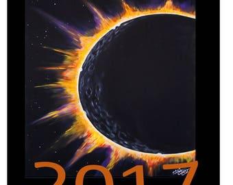 Postcards, souvenir stamps, 2017 postcards, Eclipse postcards, eclipse painting, custom Postcards, collectable postcards, path of totality,