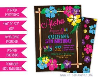 Luau Birthday Invitation - Luau Invitations - Luau Party Invites - Aloha Hibiscus - Hawaiia Birthday Girl