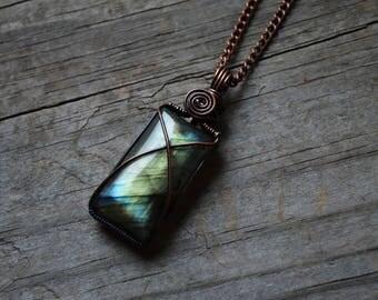 Earth Goddess Wire Wrapped Labradorite & Oxidized Copper Necklace