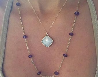 Moonstone Necklace // Moonstone Gold Necklace // Moonstone Pendant Necklace // Moonstone Large Necklace