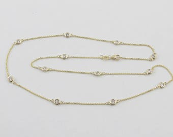 Solid 14k Yellow Gold Diamond Necklace By The Yard 18 Inches Real Diamond Station Necklace