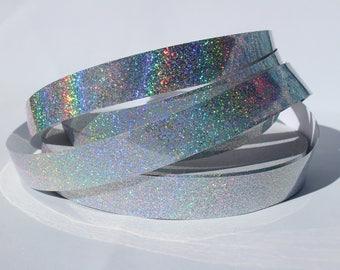 "3/4"" Silver Holographic Glitter JAMtape - Hula Hoop Tape - Fish Lure Tape - Decorative Craft Tape - 50, 100, 150ft Rolls"