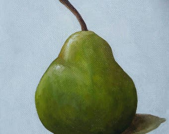 Pear Painting, Pear Still Life Oil Painting, 6x6 Inches Canvas, Small Fruit Painting, Summer Painting