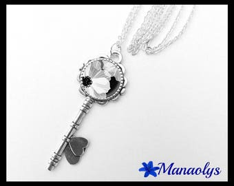 Silver long key necklace, white flower on black background, 359 glass cabochons