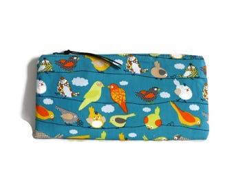 Birds pencil case, cosmetic case, Small pouch, birds pouch, teacher gift, Stationary, animal print, pencil pouch, cosmetic case, teal