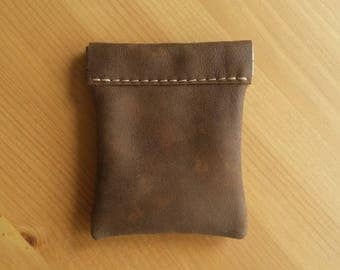 Leather coin purse with flex top