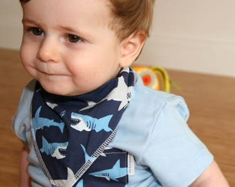 Shark Dribble Bib - Handmade Australian Adjustable Bib for Baby Boys - Made in Sydney