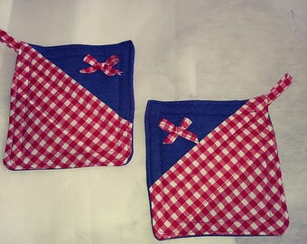 Blue denim and red gingham pot holder set pinklady cottage
