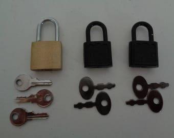 Vintage style brass padlock small jewelry box lock luggage