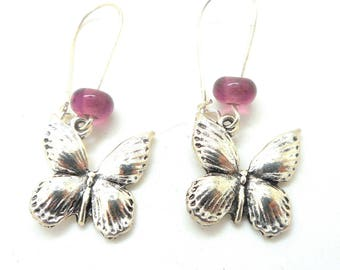 Dangle earrings Butterfly beads spun pink
