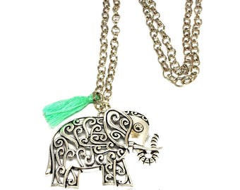Necklace big pendant elephant and green pompon water