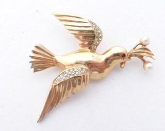 RARE Dewess Brooch Dove with Olive Branch gold tone rhinestones AJ49