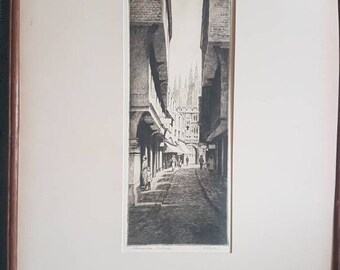 Drypoint Etching signed by fine artist K Vernon Circa 1915