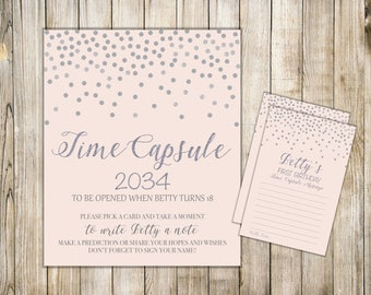 Digital Blush Pink Silver Confetti TIME CAPSULE SIGN & Card, Girl First Birthday Time Capsule Note Cards, Printable Baby Shower Dear Baby