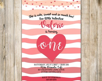 VALENTINE'S DAY Birthday Invitation, SWEETHEART Birthday Invite, Valentine First Birthday, Our Little Sweetheart is turning One, Valentine's