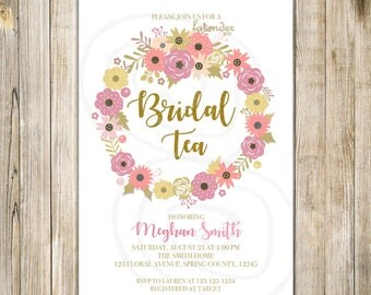 FLORAL WREATH BRIDAL Tea Invitation, Pink Floral Bridal Shower Invite, Spring Bridal Shower, Shabby Chic Afternoon Tea Party, Peach and Gold