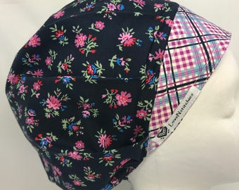 Plaid Surgical Cap Bouffant Scrub Hats for Women medical Scrub Tech Operating Room Nurse Dark Blue Purple Pink Sm Floral Lovenstitchies