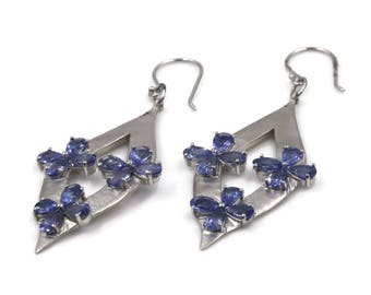 14K White Gold Earrings with Natural Tanzanite