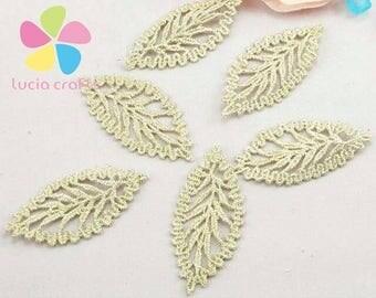 12 Pieces GOLD Leaf Flower Applique Sew On Patch