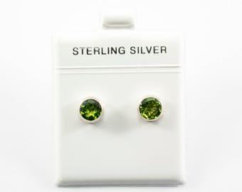 Medium Peridot Round-Shaped Stud Earrings