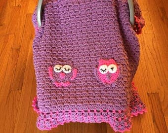 Baby Owl Afghan, Car Seat Canopy Crochet Blanket, Lavender and Hot Pink Baby Lined Blanket