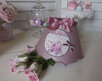 """Lamp shade iridescent double embrace """"faded rose"""" linen - """"Pink lavine"""" Locket"""