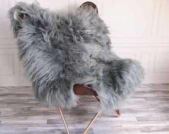 Double Icelandic Sheepskin Rug | Square rug | Shaggy Rug | Chair Cover | Area Rug | Gray Rug | Carpet | Gray icelandic Sheepskin