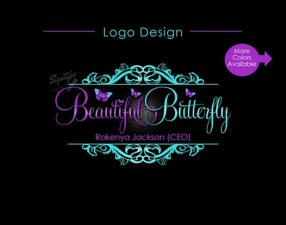 Small Business Logo, Vintage Butterfly Logo, Vintage Ornament Logo, Hair Logo, Hair Extension Logo, Website Logo, Business Branding Logo