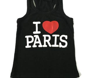 Vintage I Love Paris Black Ribbed Tank Top