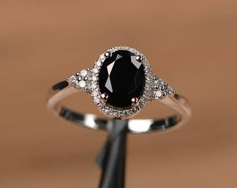 natural black spinel ring oval cut wedding engagement ring sterling silver ring Black gemstone ring