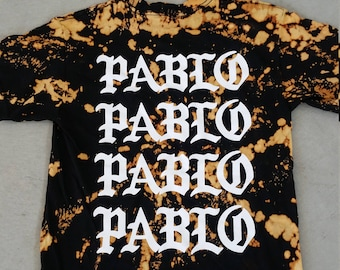 Bleached Pattern Tie Dye Kanye West in Black The life of Pablo Unisex T Shirt Sizes S-2XL