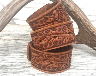 UPCYLCED Leather Cuff Bracelet, VINTAGE TOOLED Leather Cuff for Women, Upcycled Jewelry,