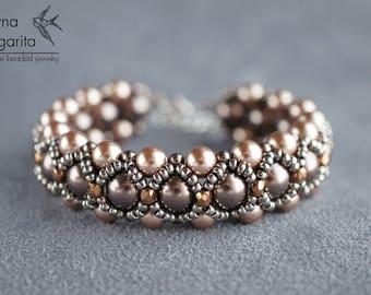 "Beaded bracelet with swarovski pearls ""BRONZE"" beadwoven bracelet beadwork bracelet bead woven bracelet beadweaving bracelet barocco style"