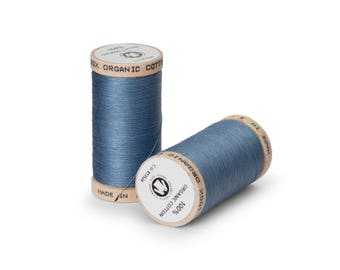 Dusk Blue Organic Cotton Thread 300 yards-  Eco-Friendly Thread - 100% Organic Cotton Thread